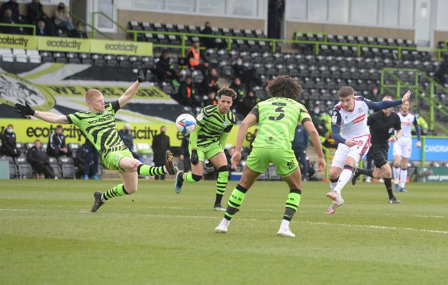 Declan John goes for goal in the first half against Forest Green.