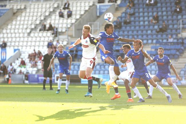 Eoin Doyle in the thick of the action for Wanderers in their 2-0 defeat at Colchester in September