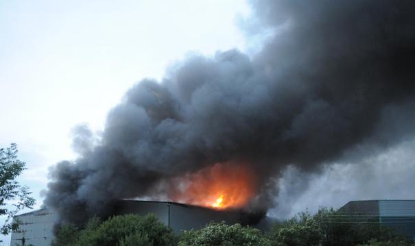Huge blaze at recycling plant