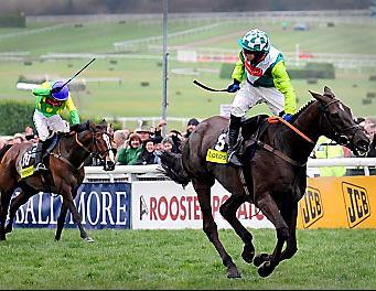 The Bolton News: SOMETHING TO SHOUT ABOUT: Sam Thomas starts the celebrations as Denman leads Kauto Star up the finishing hill on his way to claiming glory in the Cheltenham Gold Cup yesterday.  Picture: PA
