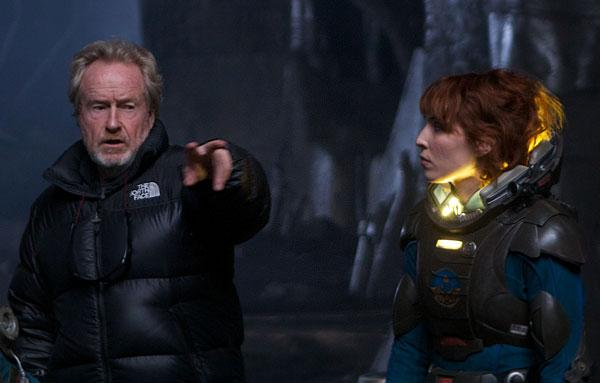Taking flight: Sir Ridley Scott directs Noomi Rapace
