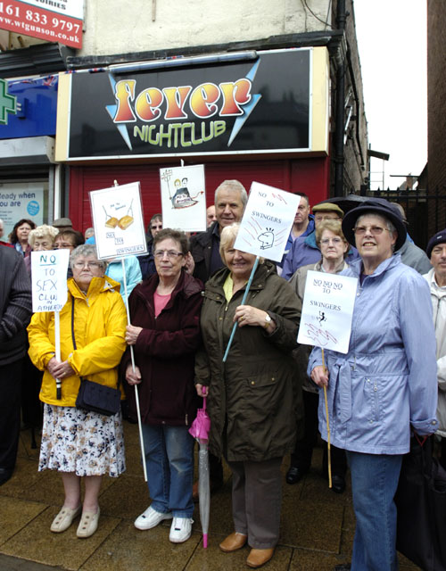 Town centre protest over swingers' club