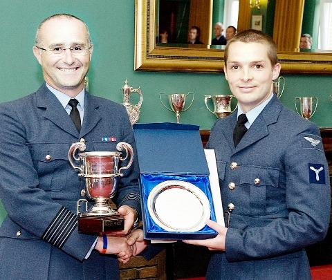 TROPHY Adam Sanderson, right, is presented with his award by Wing  Commander Jackson, the Head of Catering Specialisation