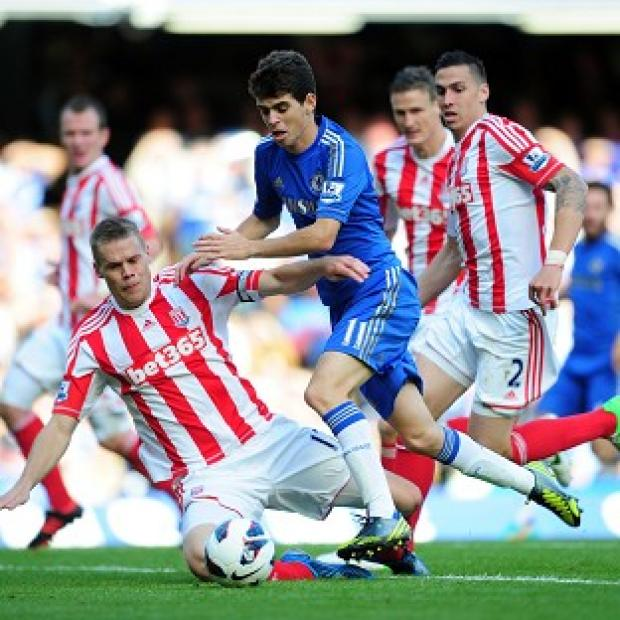 Chelsea's Oscar iwas booked for diving against Stoke, but Potters boss Tony Pulis was still left fuming