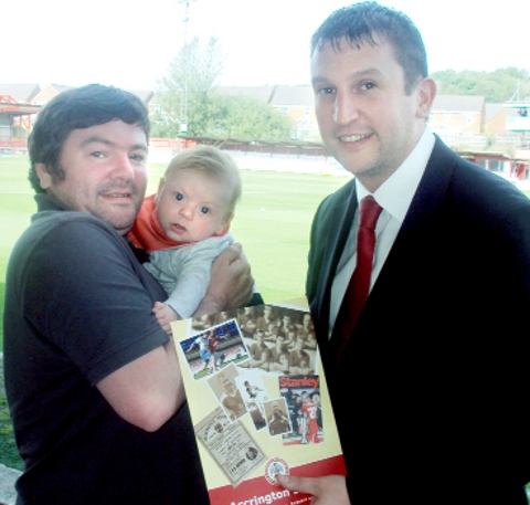 STARTING YOUNG Alfred with his dad, Andy, and Stanley chief Rob Heys