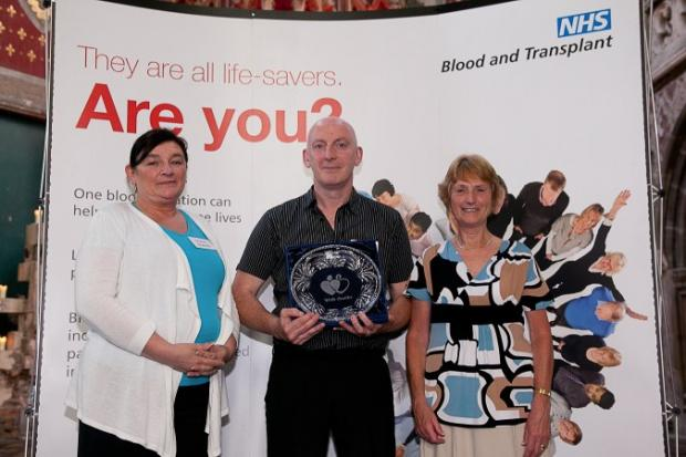 Sharon Edwards, David Blackledge and Joyce Grundy celebrate their life-saving achievements.