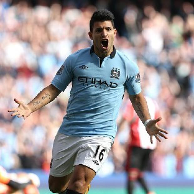 The Bolton News: Sergio Aguero scored Manchester City's second goal against Sunderland