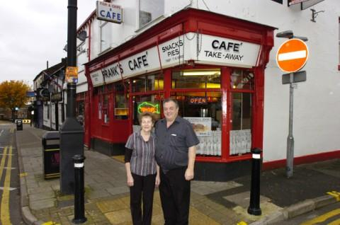 Mike and Robbie Norris outside Frank's Cafe