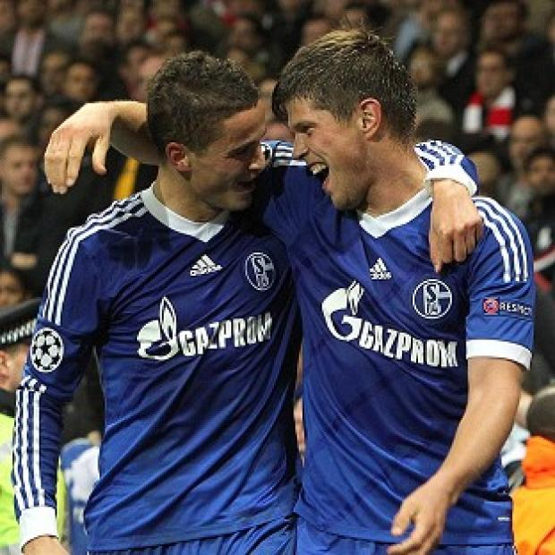 Klaas-Jan Huntelaar, right, and Ibrahim Afellay were both on target for Schalke