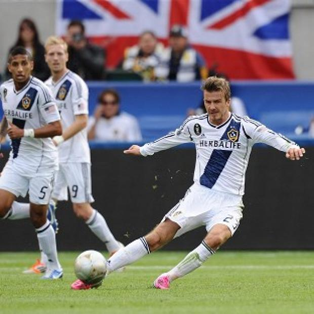 David Beckham in action during the MLS Cup Final