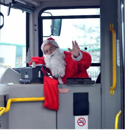 All aboard the Santa special with bus driver Jimmy