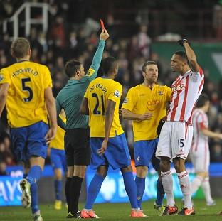 Steven Nzonzi, right, was shown red in Stoke's clash with Southampton