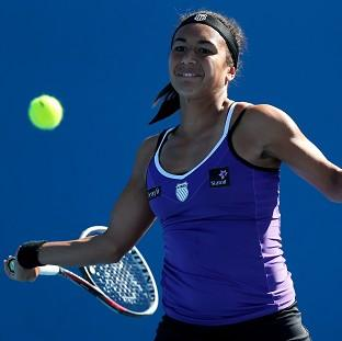 Heather Watson delivers a forehead return during her spirited first-round victory in Australia (AP)