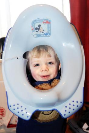 Firefighters called after Layton, two, gets head stuck in his toilet seat