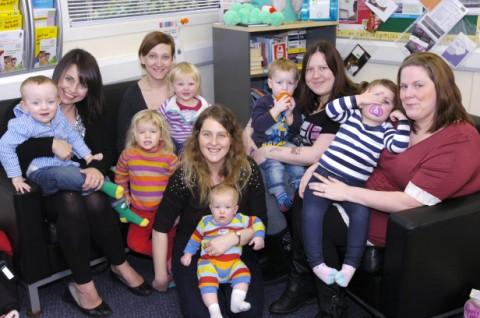 Michelle Codling, centre, with some of the other mums and rainbow babies at the support group
