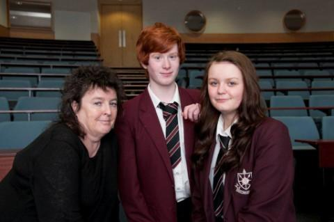 Poet Laureate Carol Ann Duffy with Westleigh duo Euan Davies and Imani Kyem