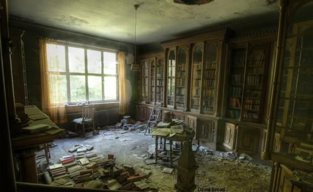 Lost in time. The library at the mansion on the site of Milton's home photographed by urban explorer David Broad from Leigh..