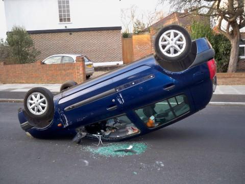 An overturned car after a crash