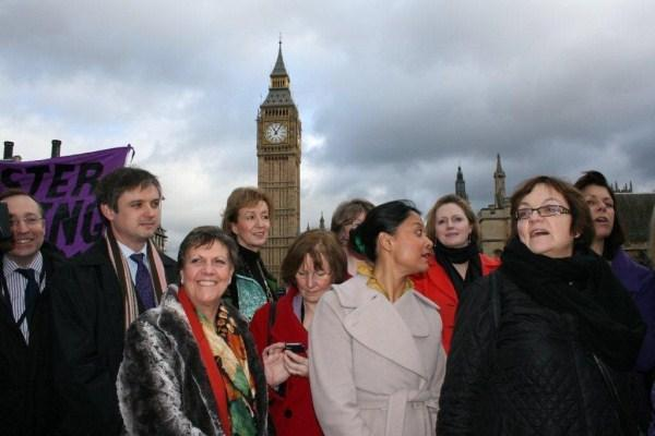 MP Julie Hilling, front left, with campaigners in London.