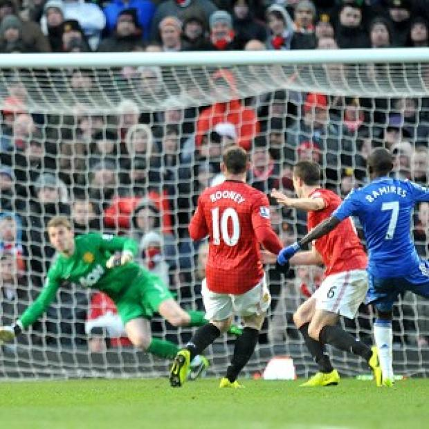 Ramires, right, beats David De Gea, yet the Spaniard made a crucial late save