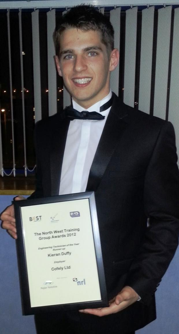 Kieran Duffy with his award.
