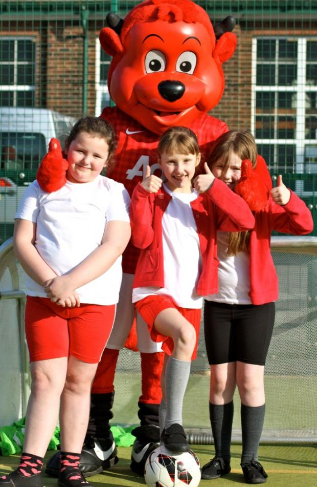 United mascot Fred the Red was a hit with pupils.