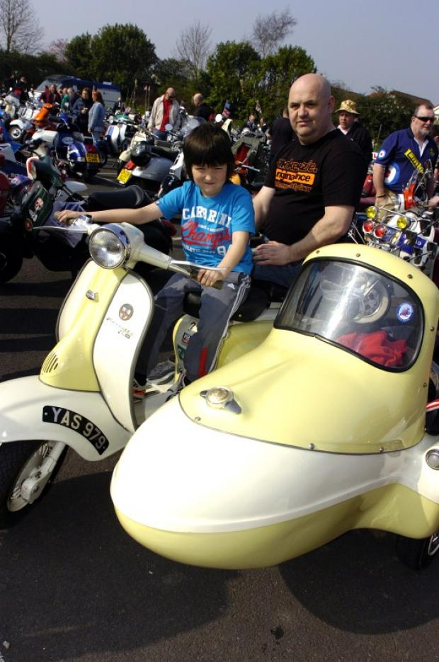 Harrison Booth and Philip Sharpe with a Lambretta outfit at last year's event