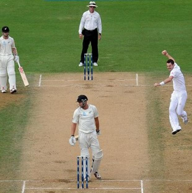 James Anderson, right, celebrates taking the wicket of New Zealand's Peter Fulton