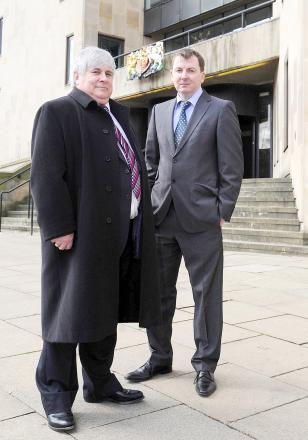 Darin Millar outside Bolton Crown Court with fellow lawyer Mike Garstang