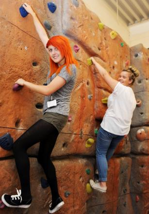 HANGING ABOUT On the climbing wall are Jessica Wilby and Danielle Collinge, both aged 16