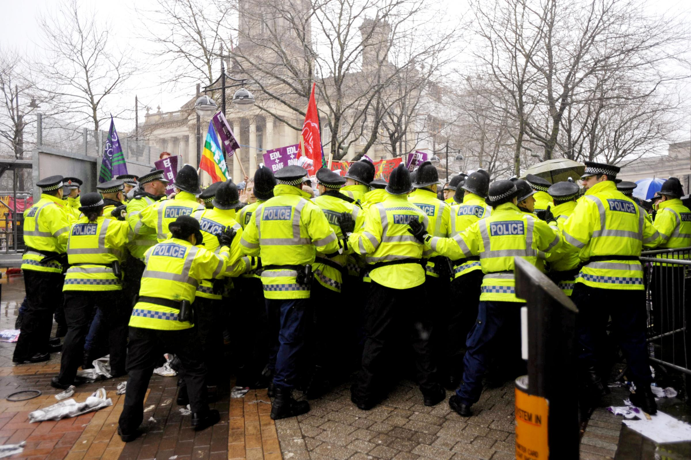 Police at the EDL / UAF demonstration in Victoria Square in 2010.