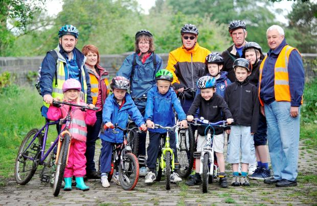 CASH PUSH Cyclists at Ladyshore Country Park, Little Lever, raising money for the school to build a bike storage area