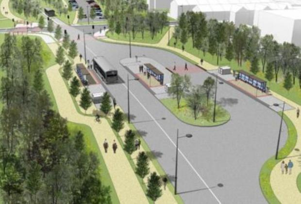 An artist's impression of the busway interchange at Astley Street, Tyldesley