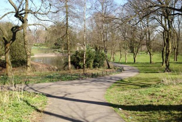 Queens Park, Bolton, where a woman's body has been found.