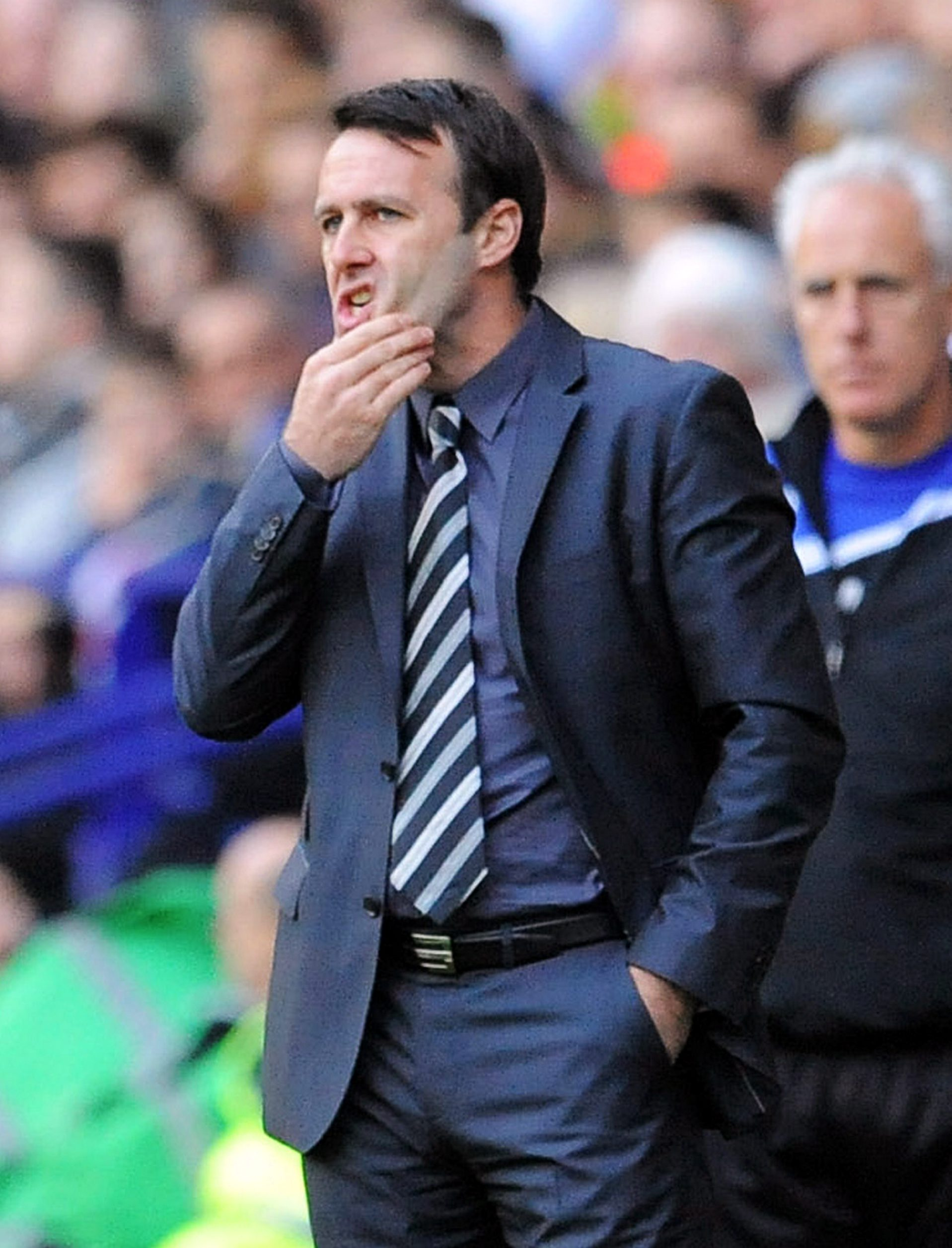 Frustration is etched on the face of Wanderers manager Dougie Freedman