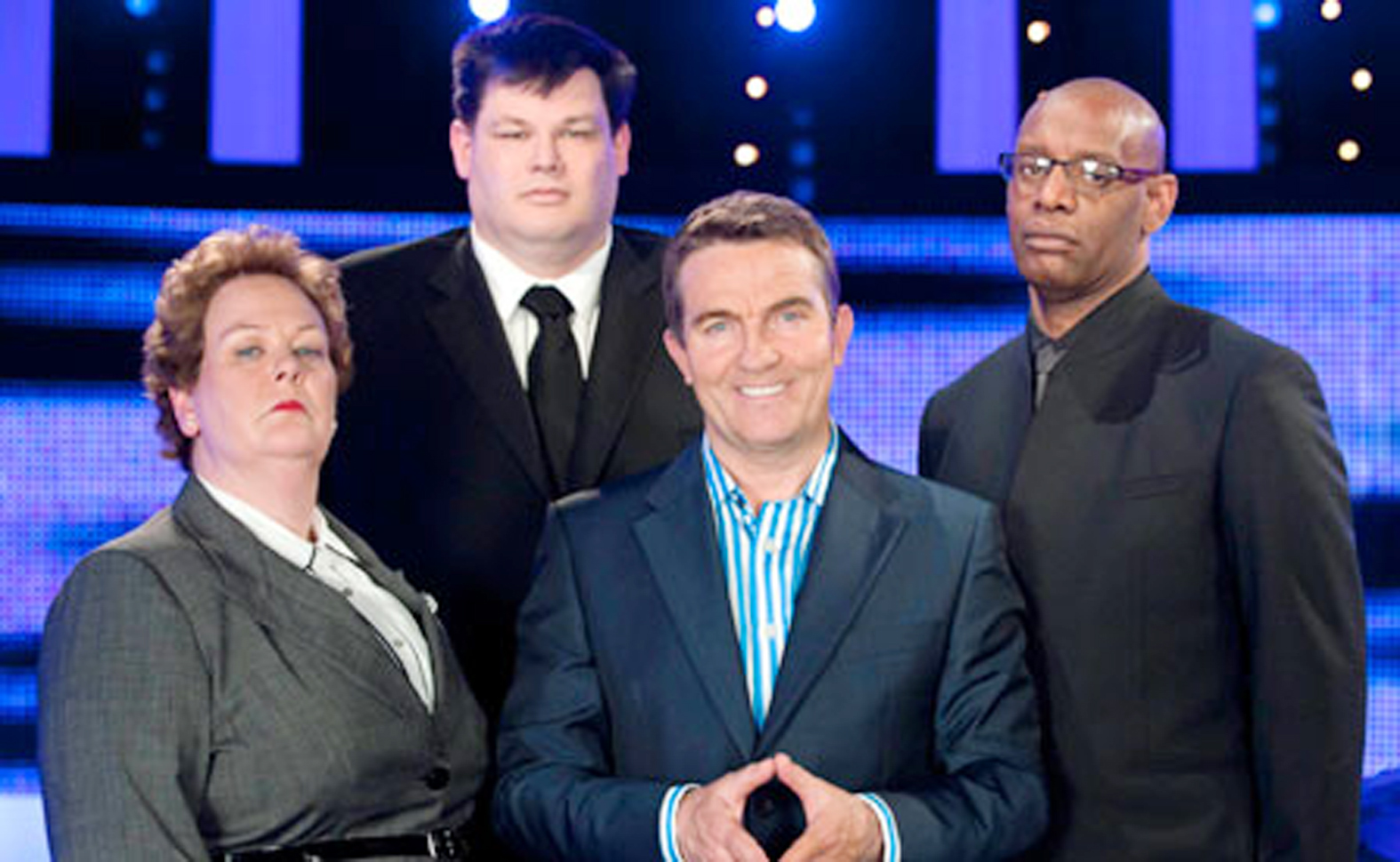 Anne with host Bradley Walsh, second right, and two of her fellow chasers Mark Labbett and Shaun Wallace