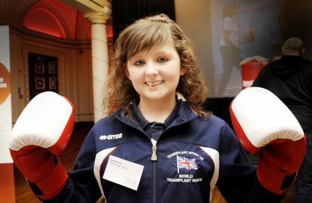 The Bolton News: Beth Morris at the launch event in Bolton Town Hall this morning ahead of next year's Transplant Games