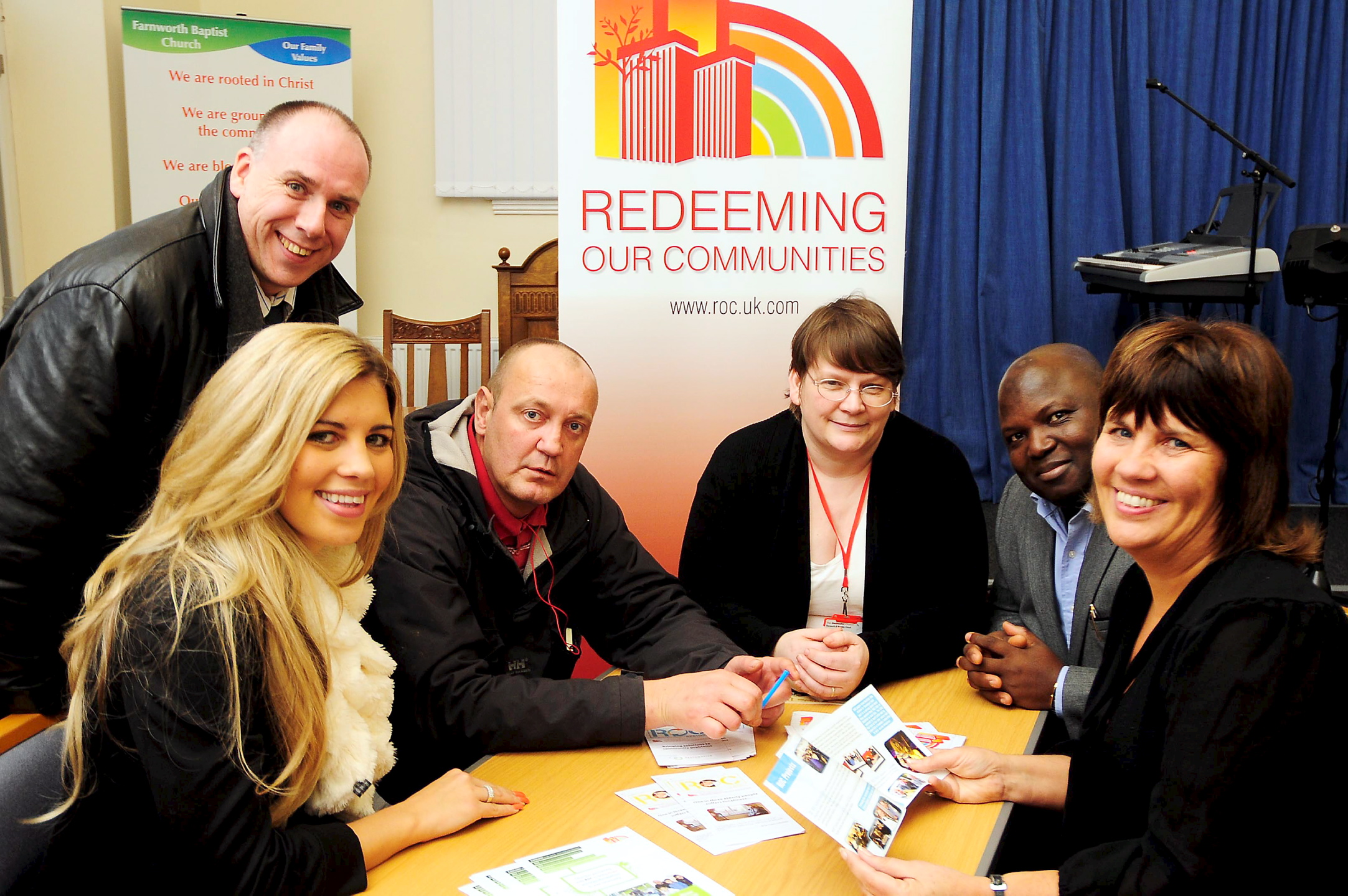 Meeting at Farnworth Baptist Church to try and set up another ROC are, from left, ROC National Development Manager Rebecca Green, Paul Davies from Sorts Village Church, Leigh, Neil Blower, Sally Cooper from Farnworth and Worsley Methodist Circuit, Adewale