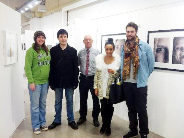Students Lydia, Seph, Malcolm Berry, deputy centre manager, Sophie and Mike at the exhibition