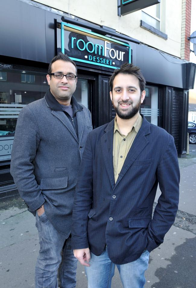 Salman Bariwala and Asif Timol, right, outside the shop and, inset, some of their desserts