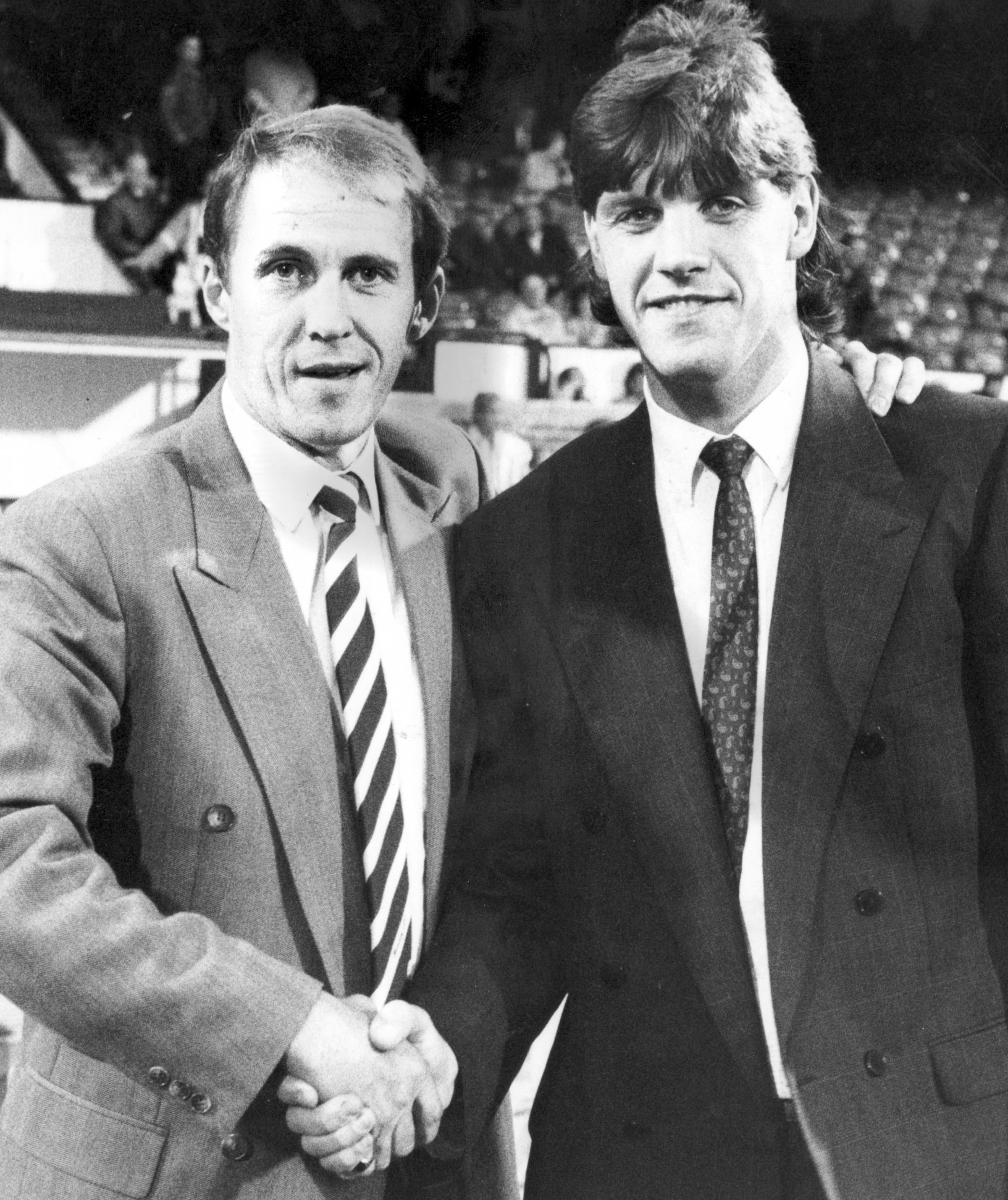 Then Bolton Wanderers manager Phil Neal introduces Paul Comstive to the crowd at Burnden Park in 1989