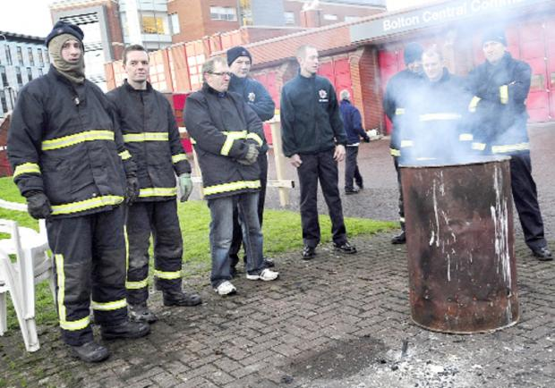 Firefighters strike over pensions outside Bolton Central Fire Station