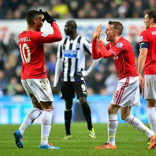Craig Noone, third right, celebrates with fellow goalscorer Fraizer Campbell
