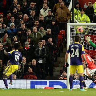 Wilfried Bony, left, heads in the winner at Old Trafford