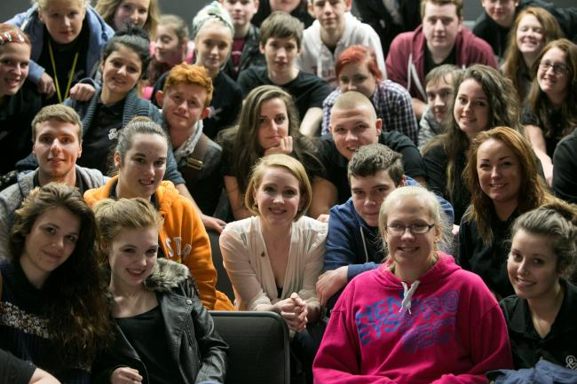 Julia Haworth, centre front, with Bolton College students