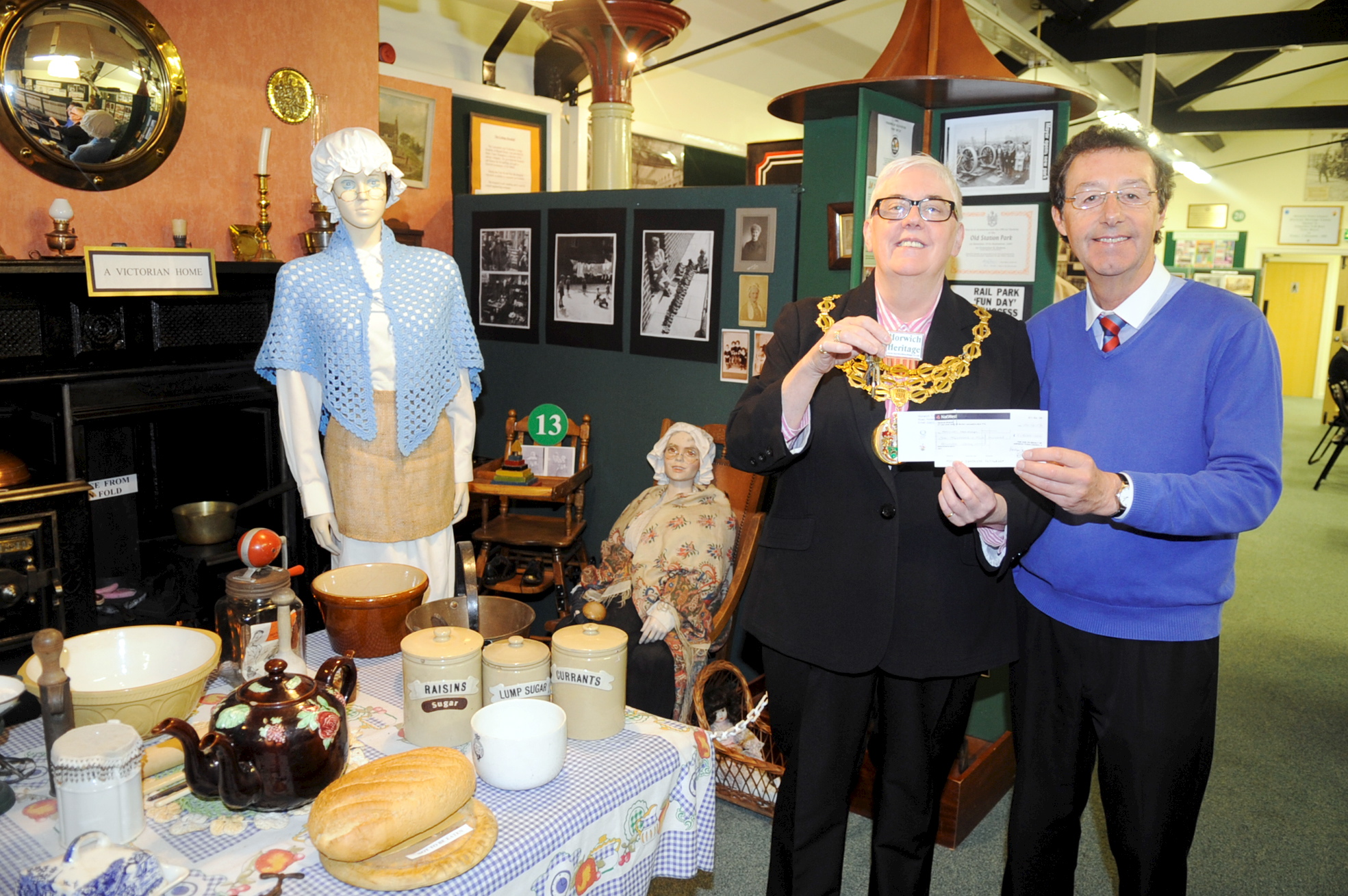 Cllr Christine Root with Stuart Whittle at the Horwich Heritage Centre