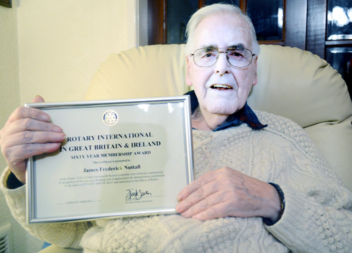 James Nuttall with his certificate