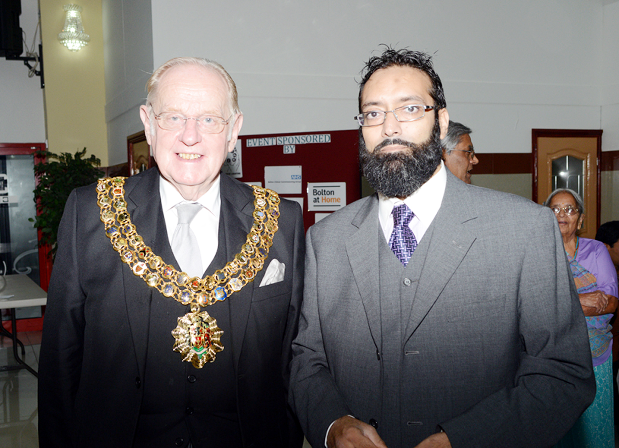 The Mayor of Bolton, Cllr Colin Shaw, with Anis Haroon, chairman of The Asian Elders Resource Centre
