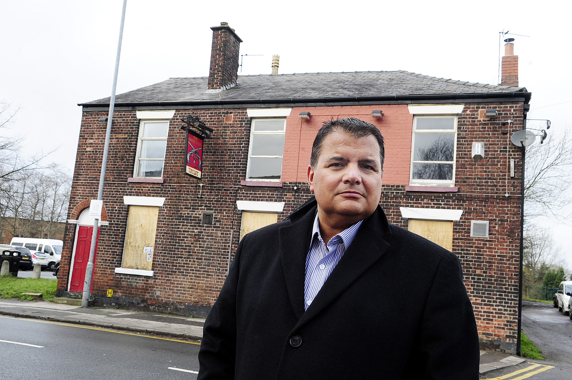 Chris Houghton outside the Cross Guns pub, Bolton Road, Westhoughton