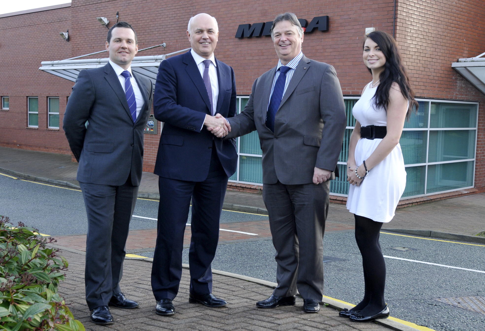 From left, Chris Green, Iain Duncan Smith, Bernard Waldron and apprentice Samantha Ball at MBDA in Lostock